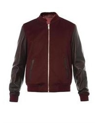 Alexander McQueen Leather Sleeve Wool Bomber Jacket