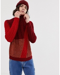 ASOS DESIGN Relaxed Fit Knitted Colour Block Cable In Red