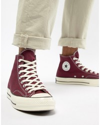 Burgundy Canvas High Top Sneakers