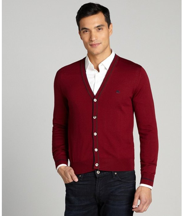 Etro Bordeaux Button Up V Neck Cardigan Sweater | Where to buy ...