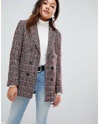 New Look Check Blazer Coat In Rust