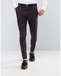 Burgundy Check Dress Pants
