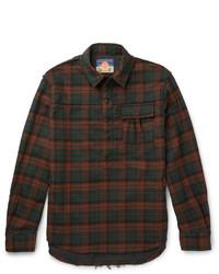 Burgundy Check Flannel Long Sleeve Shirt