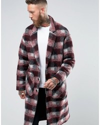 Asos Checked Overcoat In Red