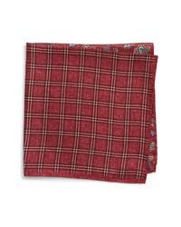 Burgundy Check Pocket Square