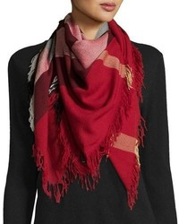 Burberry Color Check Wool Scarf Parade Red