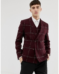ASOS DESIGN Asos Slim Double Breasted Blazer In Moons Wool Rich Burgundy Check