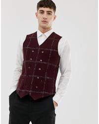 Burgundy Check Wool Waistcoat