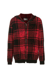 Burgundy Check Zip Sweater