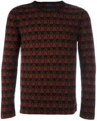 Burgundy Chevron Crew-neck Sweater