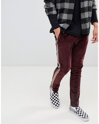 ASOS DESIGN Asos Skinny Burgundy Velour Trousers With