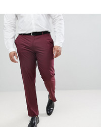 ASOS DESIGN Plus Skinny Smart Trousers In Burgundy