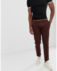 Pull&Bear Skinny Chino With Belt In Burgundy