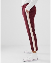 ASOS DESIGN Skinny Trousers In Burgundy With Double