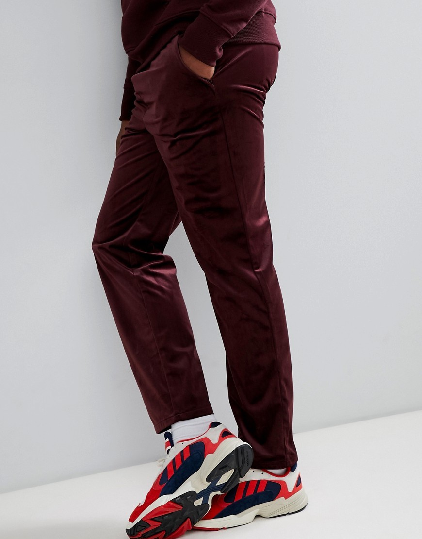 ASOS DESIGN Slouch Fit Trousers In Burgundy Velour