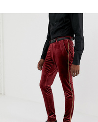 ASOS DESIGN Tall Super Skinny Smart Trouser In Burgundy Velvet With Gold Piping