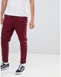 ASOS DESIGN Tapered Chinos In Burgundy