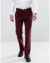 Asos Straight Pants In Burgundy With Cord Detail