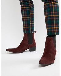 Jeffery West Sylvian Cuban Boots In Burgundy Suede