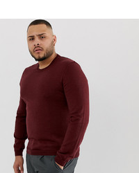 ASOS DESIGN Asos Plus Merino Wool Jumper In Burgundy