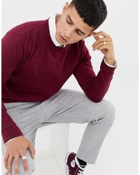ASOS DESIGN Cotton Jumper In Burgundy