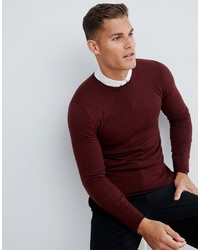 ASOS DESIGN Muscle Fit Merino Wool Jumper In Burgundy