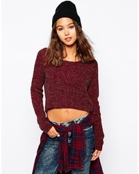 Rib knit sweater red medium 120413