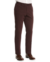 Incotex Standard Fit Brushed Stretch Cotton Pants Burgundy