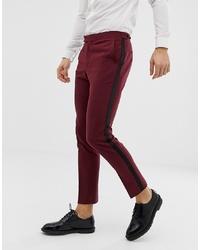 ASOS DESIGN Skinny Tuxedo Suit Trouser In Plum