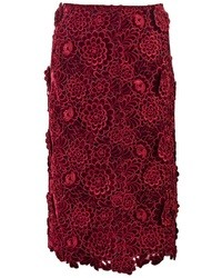 Burgundy Embroidered Midi Skirt
