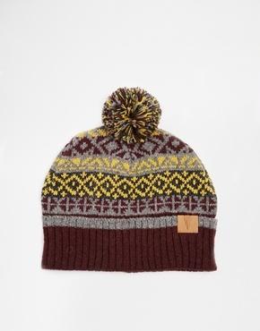 ... Burgundy Fair Isle Beanies Asos Brand Fair Isle Bobble Beanie Hat In  Wool Blend ... fc1d9cfb534