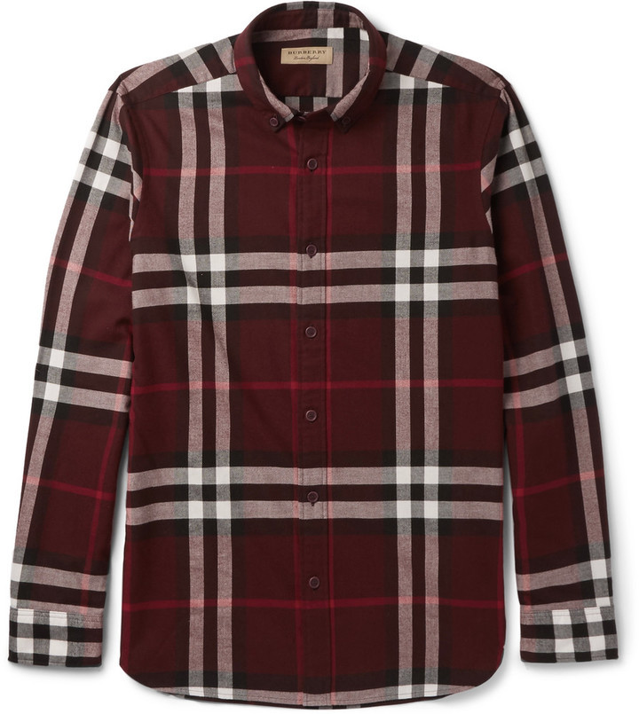 ... Burgundy Flannel Long Sleeve Shirts Burberry Slim Fit Button Down  Collar Cotton Flannel Shirt ... d8c279717