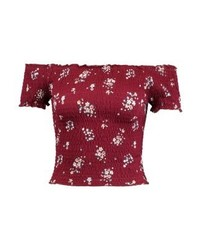 New Look Bouquet Floral Shirred Bardot Print T Shirt Dark Burgundy