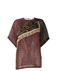 Burgundy Floral Short Sleeve Blouse