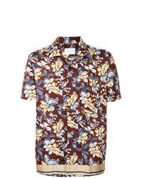 Burgundy Floral Short Sleeve Shirt