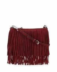 Burgundy Fringe Suede Crossbody Bag