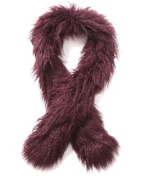 Burgundy Fur Scarf