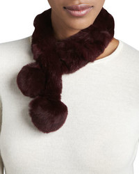 Belle Fare Rabbit Fur Neck Warmer Wine