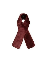 New Look Dark Red Faux Fur Scarf