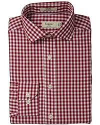 Burgundy Gingham Dress Shirt