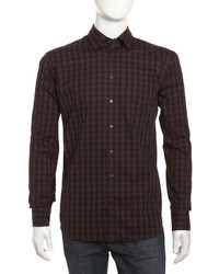 Burgundy Gingham Long Sleeve Shirt