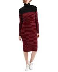Topshop Stripe Turtleneck Body Con Dress