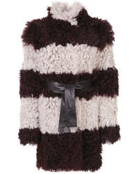 Drome Furry Detail Striped Coat