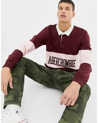 Abercrombie & Fitch Logo Chest Panel Long Sleeve Rugby Polo In Burgundy Graphic