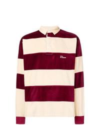 Drôle De Monsieur Striped Velvet Polo Shirt