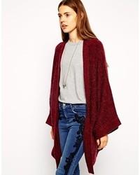 Cardigan with kimono sleeve burgundy medium 116370
