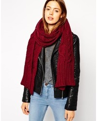 Asos Cable Scarf Burgundy