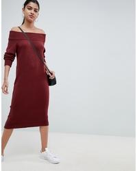 ASOS DESIGN Knit Dress In Off Shoulder Midi Shape
