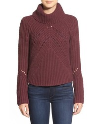 Halogen Turtleneck Sweater With Open Stitch Detail