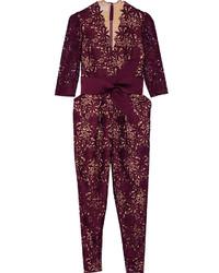 Burgundy Lace Jumpsuit